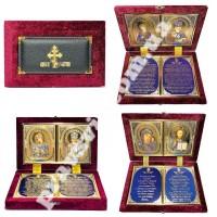 Складеньоксамитовий футляр з іконами і молитвою, в асортименті
